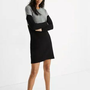 Madewell Grey and Black Colorblock Sweater Dress